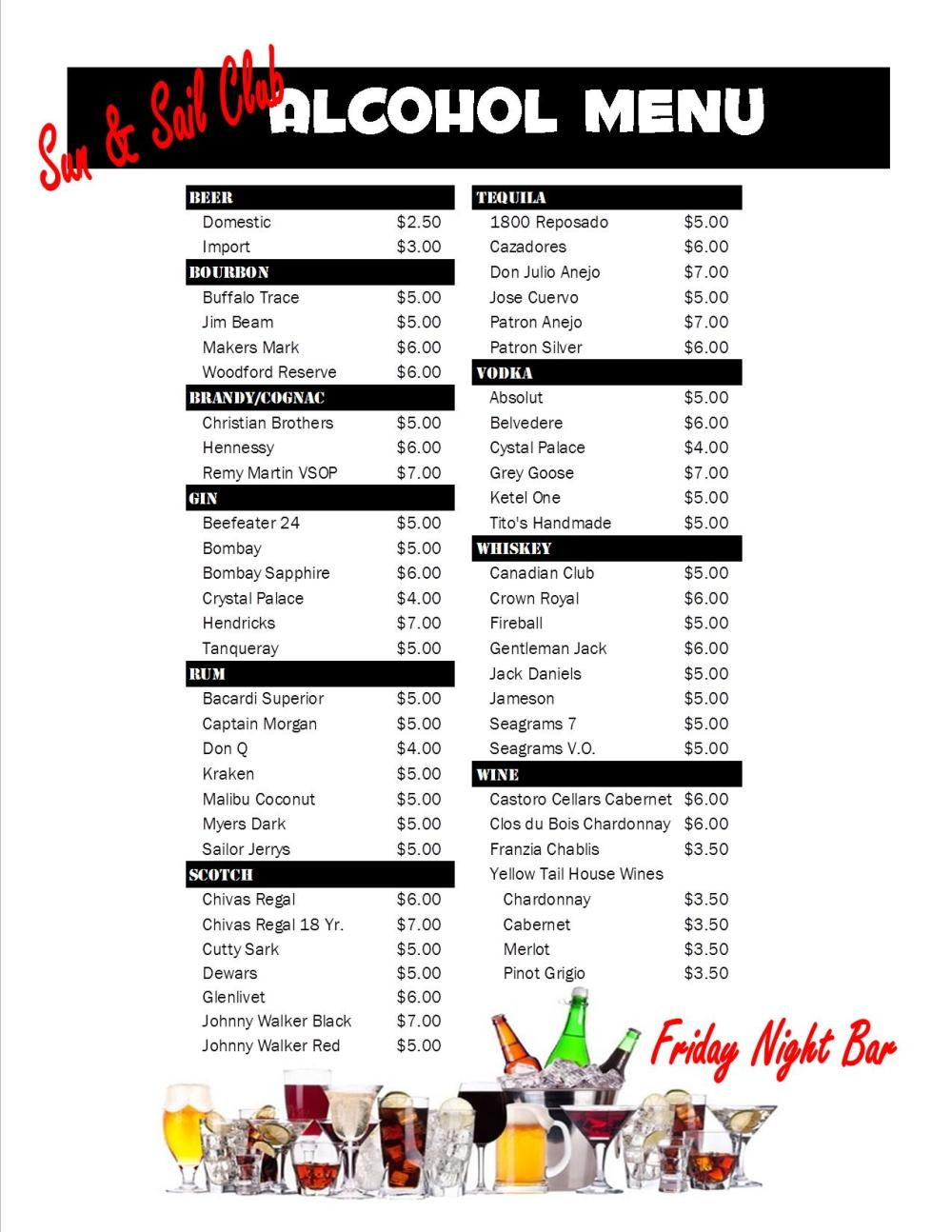 New Bar Prices by Alcohol